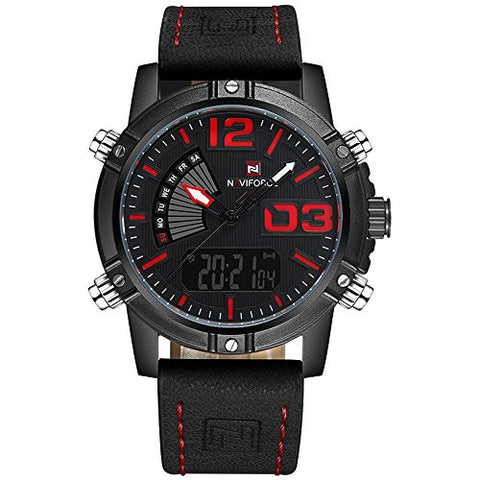 NAVIFORCE 9095 (Black Red) Men's Sports Waterproof Leather Strap Good Quality Week Quartz LED Watch