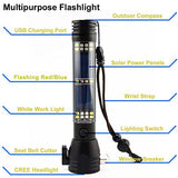 Car Flashlight, All-in-One 7-Mode Rechargeable Solar LED Flashlight, Car Emergency Flashlight Tool with Window Breaker, Seat Belt Cutter, Compass & Flashlight for Travel, Camping & Emergencies