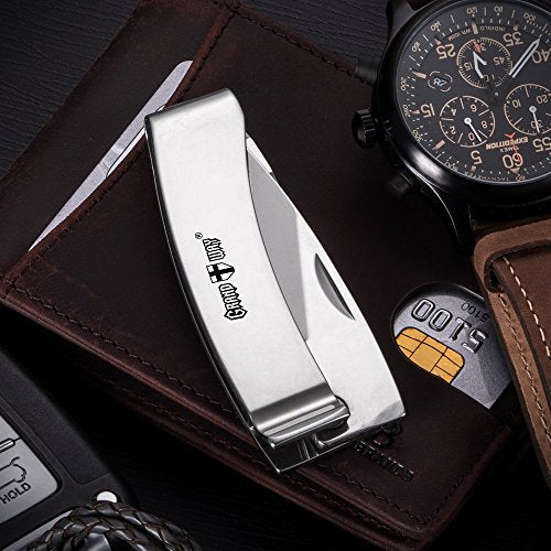 Knife Money Clip - Pocket Folding Knife - Classic Stainless Steel Blade with Metal Clip on Handle