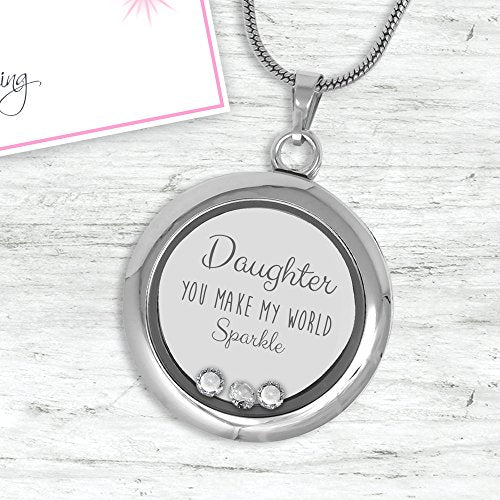 "Charming Daughter Memory Charm Necklace (18"") Made With Swarovski Stones Sparkle Collection Gift Box"
