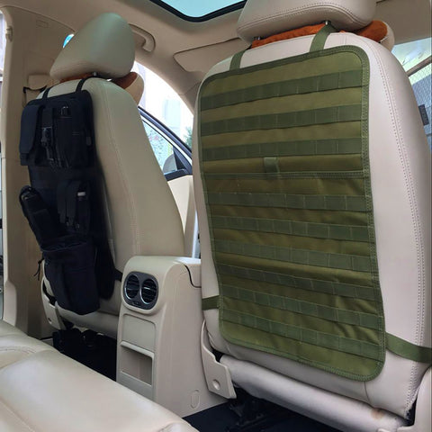 Car Seat Back Organizer Pocket Storage Tactical MOLLE Panel Vehicle Cover Protector Kit Mat