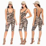Camouflage Jumpsuit Overalls Sexy Bodysuit Backless