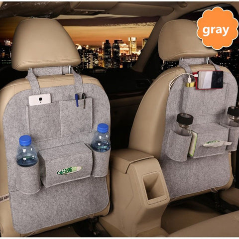 Car organizer felt material auto back seat hanging storage bag multi-pocket black car organizer water cup storage box