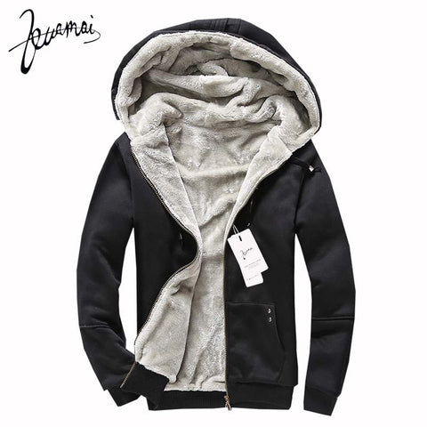 New Mens Thick Warm Lined Hooded Jacket