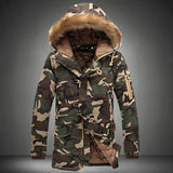 Camouflage parka mens military medium-long winter coat men thick  cotton-padded winter jacket  with fur hood