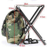 Fishing Chair Backpack Camouflage Oxford Cloth Large Capacity Fishing Bag Portable Foldable Stool Fishing Tackle Chair Bag