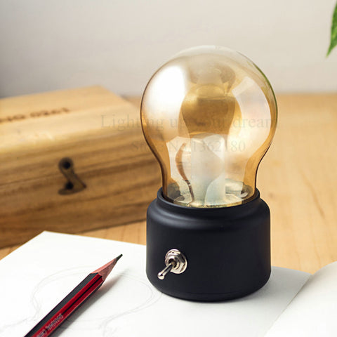 Vintage Bulb Night Light Retro USB Lamp Rechargeable Cordless