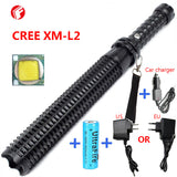 Powerful led flashlight 18650 CREE XM L2 Telescopic Baton Rechargeable