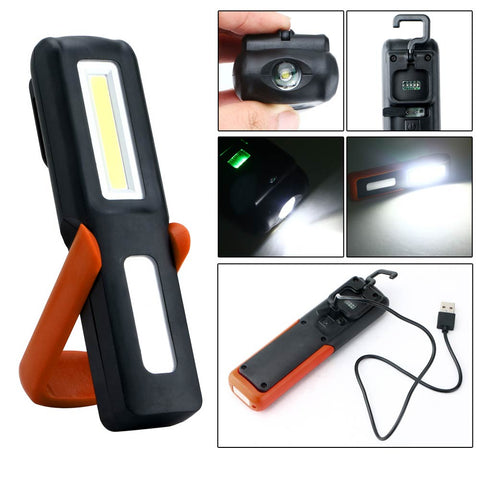 USB Rechargeable 3W COB Flashlight Torch Magnetic LED Work Light Lamp Outdoor Camping Emergency Light Lanterna With Hook