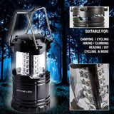 Ultra Bright Portable Camping LED Lantern Flashlights (10-Year Warranty) for Home & Outdoor and Emergency Use: Suitable for Hiking, Camping, Emergencies, Hurricanes, Outages (Black, Collapsible, Water-resistant