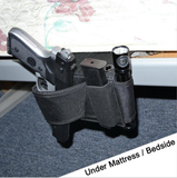 Tactical Adjustable Bedside Couch Under Mattress Bed Seat Car Pistol Gun Holster Holder Universal with Flashlight Loop Magazine