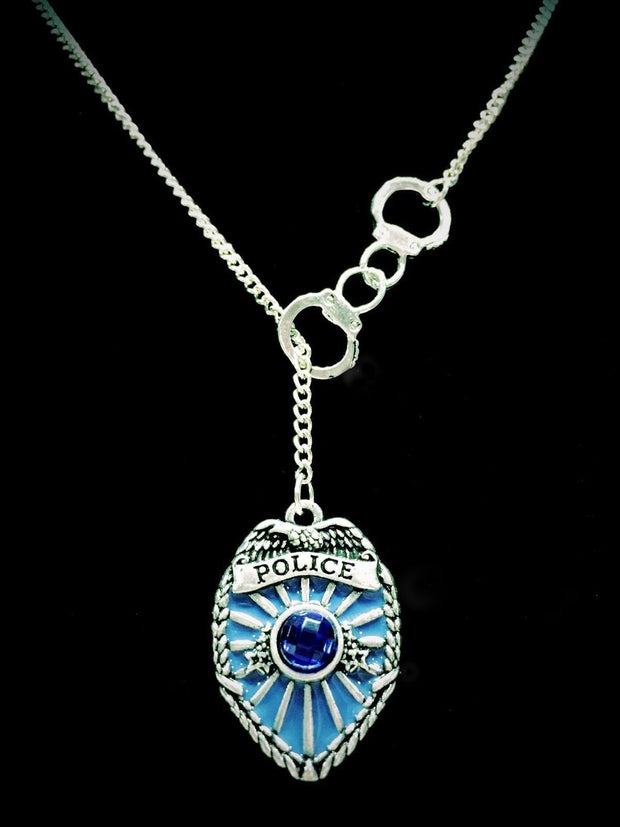 Handcuff Blue Police Shield Badge Gift Police Wife Mom Sister Lariat Necklace