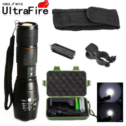 18650 LED Flashlight T6 Zoomable Lamp + Battery Kit