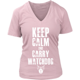 Keep Calm & Watchdog T-Shirt (Women V-Neck)