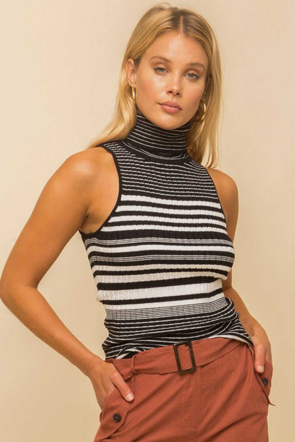 Amber Striped Turtleneck in Black
