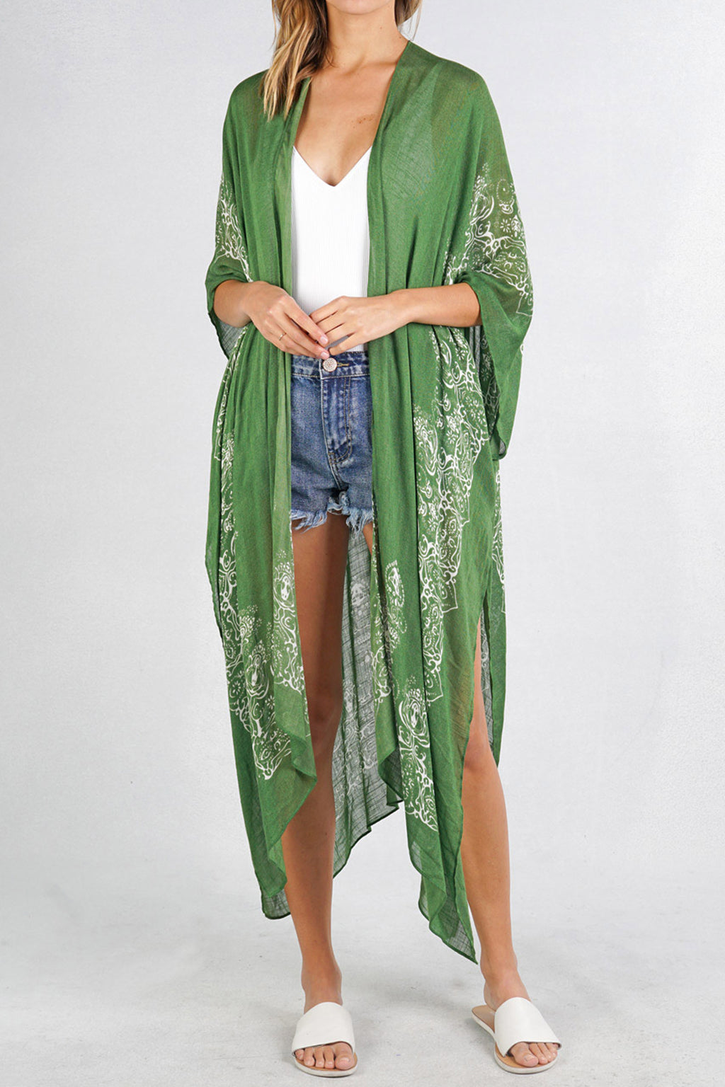Aria Scarf Kimono in Leaf - Boho Bum Island Clothing Swimwear Bohemian Boho west palm beach  Miami florida  fall fashion spring fashion online shopping ootd blogger style swim boutique