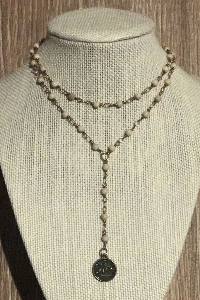 Double Wrap Coin Lariat in Cream - Boho Bum Island