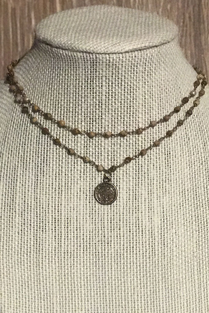 Double Wrap Coin Choker in Brown