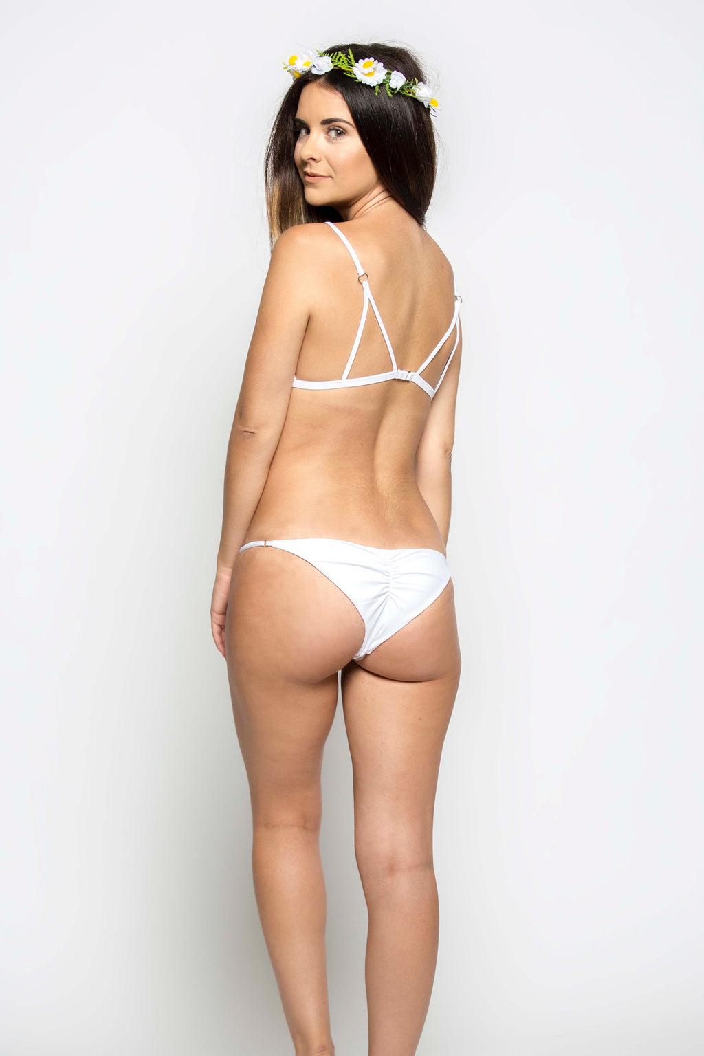 Magnolia Skimpy Bottom in White - Boho Bum Island