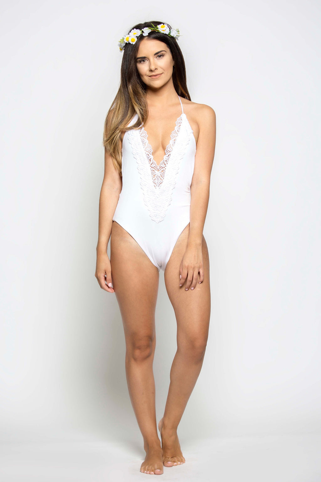 Mirage Halter One Piece in White Diamond - Boho Bum Island Clothing Swimwear Bohemian Boho west palm beach  Miami florida  fall fashion spring fashion online shopping ootd blogger style swim boutique