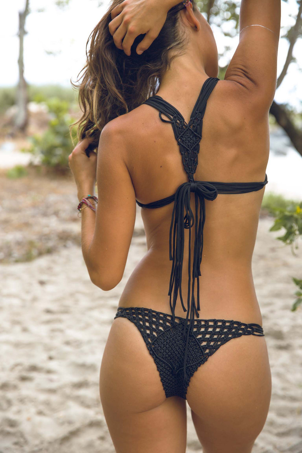 Koh Samui Macrame Bottom in Black - Boho Bum Island