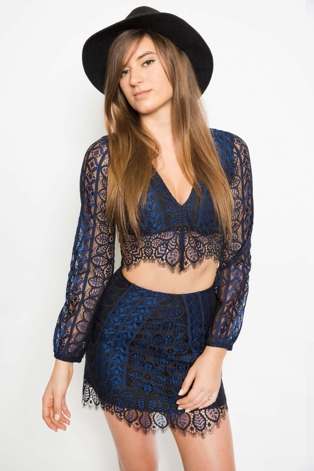 Lyla Skirt in Navy/Black - Boho Bum Island