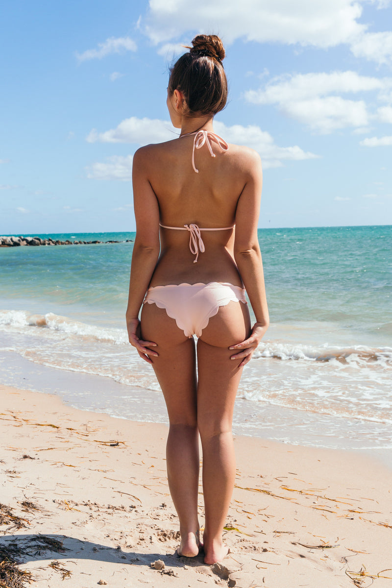 Scallop Bottom in Pink Pearl - Boho Bum Island Clothing Swimwear Bohemian Boho west palm beach  Miami florida  fall fashion spring fashion online shopping ootd blogger style swim boutique