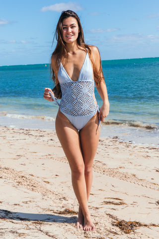 Mirage Halter One Piece in White Diamond