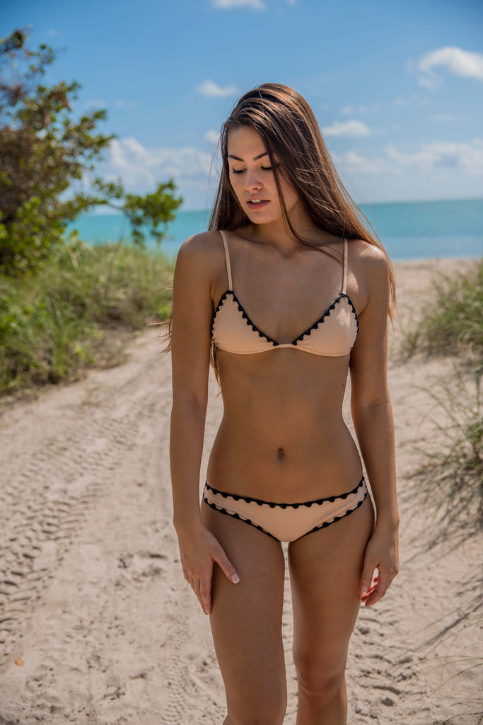 Posh Pua Hoku Top in Bare/Black - Boho Bum Island Clothing Swimwear Bohemian Boho west palm beach  Miami florida  fall fashion spring fashion online shopping ootd blogger style swim boutique