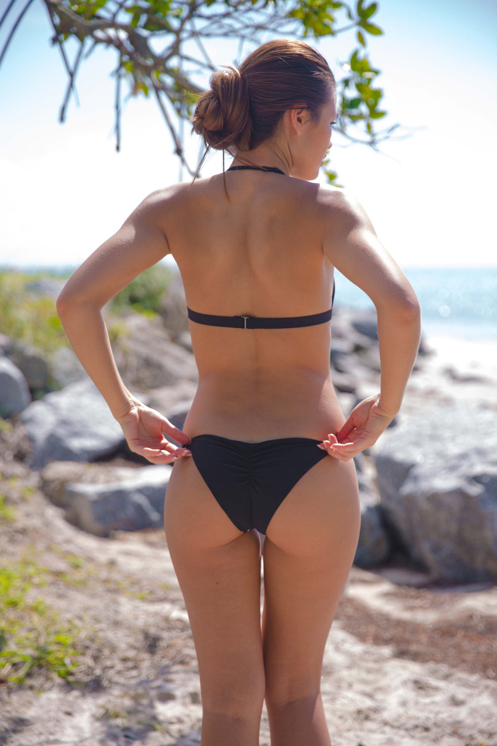 Blue Life Flower Bomb Skimpy Bottom in Black - Boho Bum Island