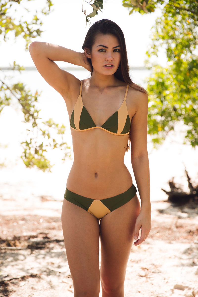 Stone Fox Swim Isla Top in Olive Bare Block - Boho Bum Island Clothing Swimwear Bohemian Boho west palm beach  Miami florida  fall fashion spring fashion online shopping ootd blogger style swim boutique
