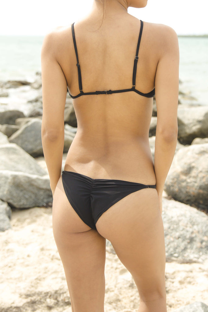 Seashell Skimpy Bottom in Black - Boho Bum Island Clothing Swimwear Bohemian Boho west palm beach  Miami florida  fall fashion spring fashion online shopping ootd blogger style swim boutique