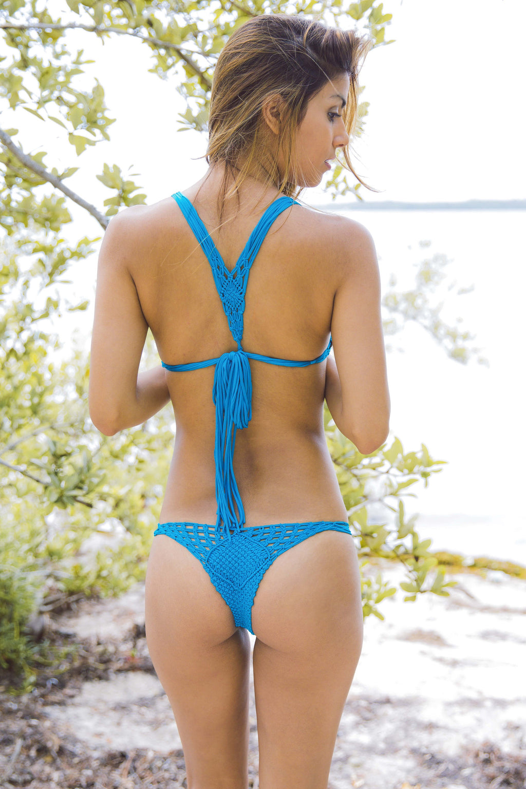 Koh Samui Macrame Bottom in Teal - Boho Bum Island