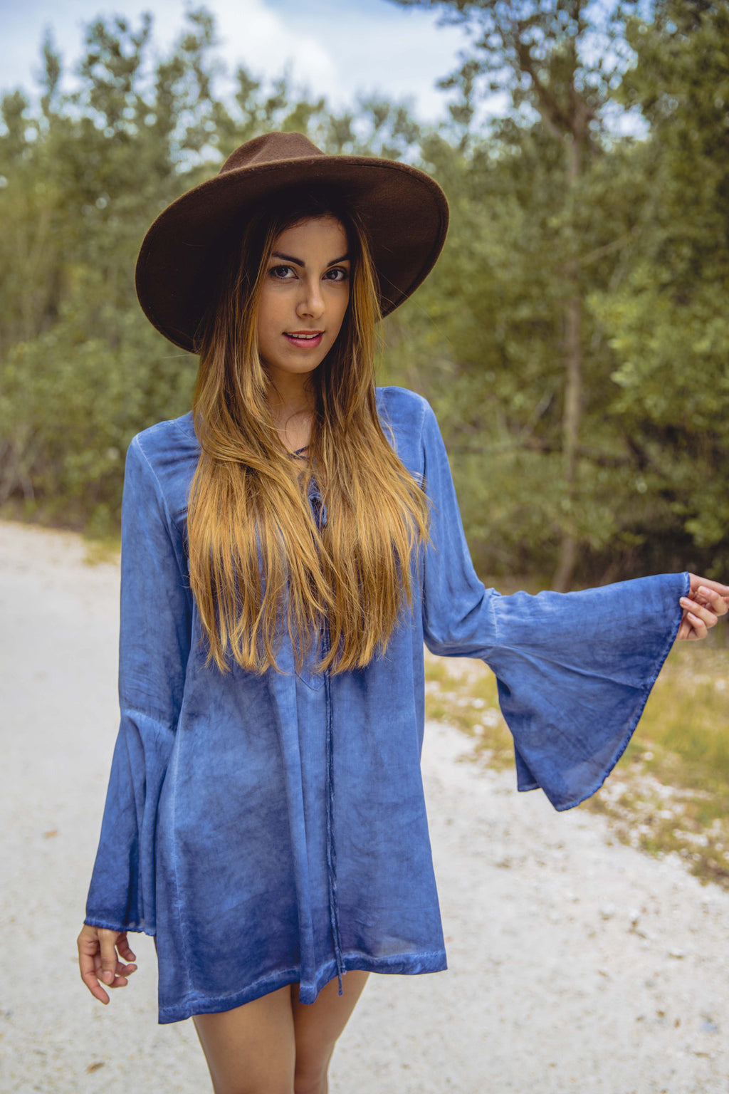 Lace Up Tunic Dress in Indigo Denim - Boho Bum Island Clothing Swimwear Bohemian Boho west palm beach  Miami florida  fall fashion spring fashion online shopping ootd blogger style swim boutique