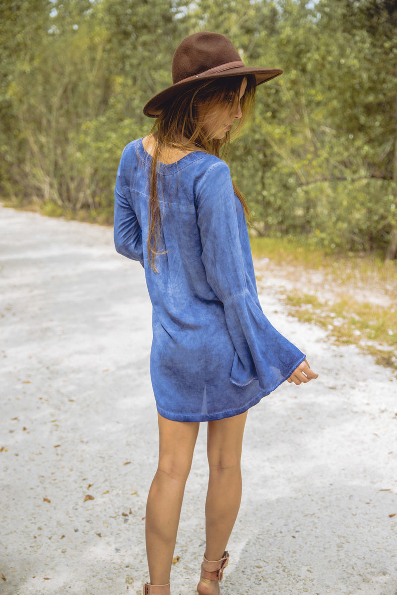 Lace Up Tunic Dress in Indigo Denim - Boho Bum Island