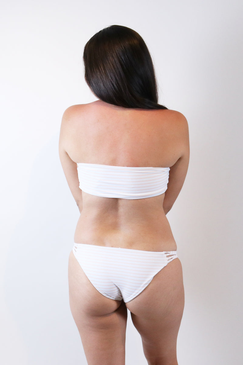 Full Bottom with Side Twists in Stripe White