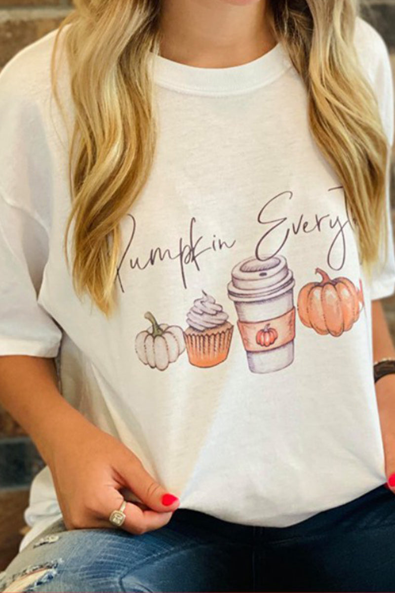 Pumpkin Everything Oversized Tee in White