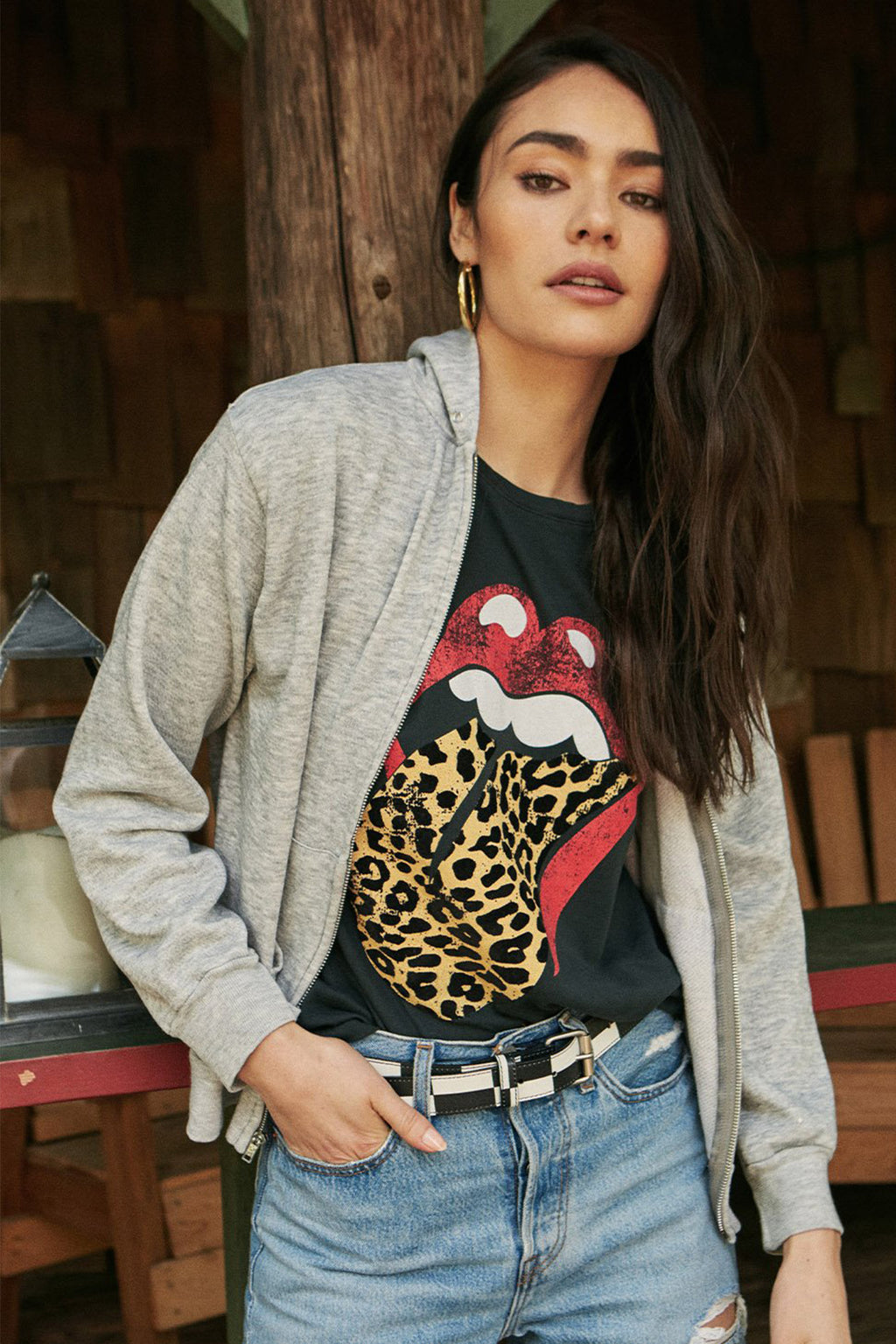 Rolling Stones Flocked Leopard Tongue Tour Tee - Boho Bum Island Clothing Swimwear Bohemian Boho west palm beach  Miami florida  fall fashion spring fashion online shopping ootd blogger style swim boutique