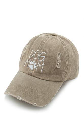 Dog Mom Baseball Cap in Beige - Boho Bum Island