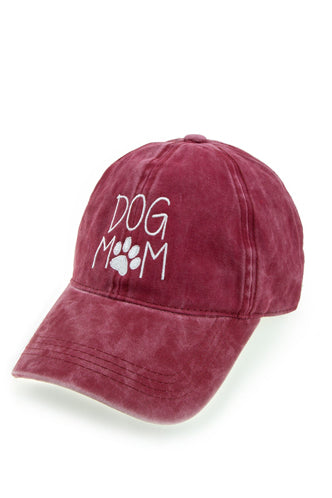 Dog Mom Baseball Cap in Burgundy - Boho Bum Island
