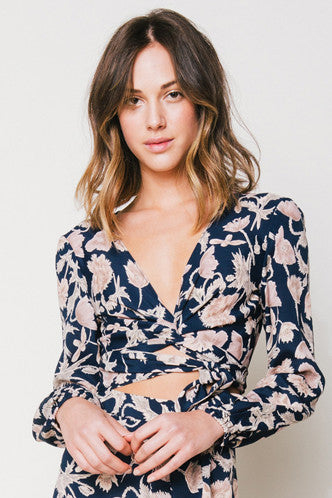 That's A Wrap Crop Top in Navy Poppy - Boho Bum Island