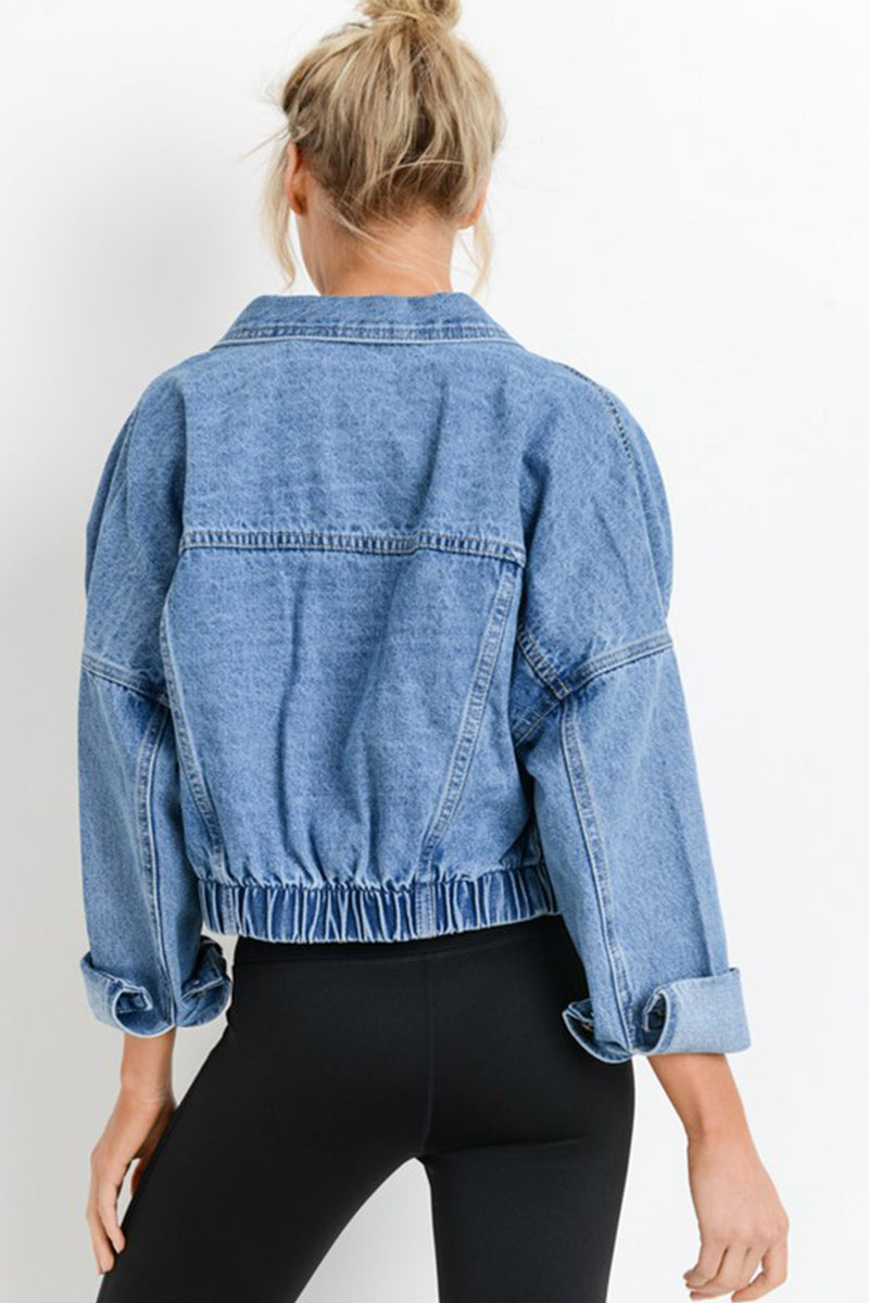 Hannah Oversized Crop Denim Jacket in Medium Wash