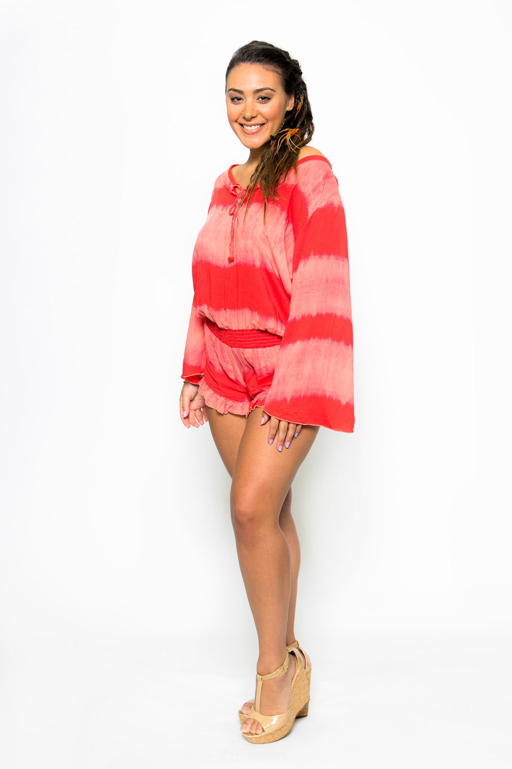 Khush Clothing Balihai Romper in Coral - Boho Bum Island Clothing Swimwear Bohemian Boho west palm beach  Miami florida  fall fashion spring fashion online shopping ootd blogger style swim boutique