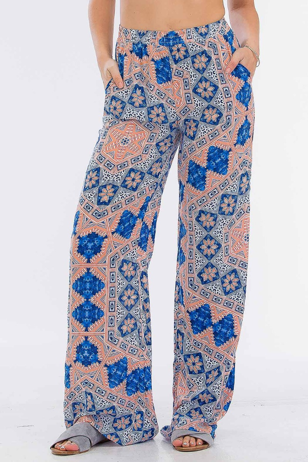 Jenna Printed Pant in Santorini - Boho Bum Island Clothing Swimwear Bohemian Boho west palm beach  Miami florida  fall fashion spring fashion online shopping ootd blogger style swim boutique
