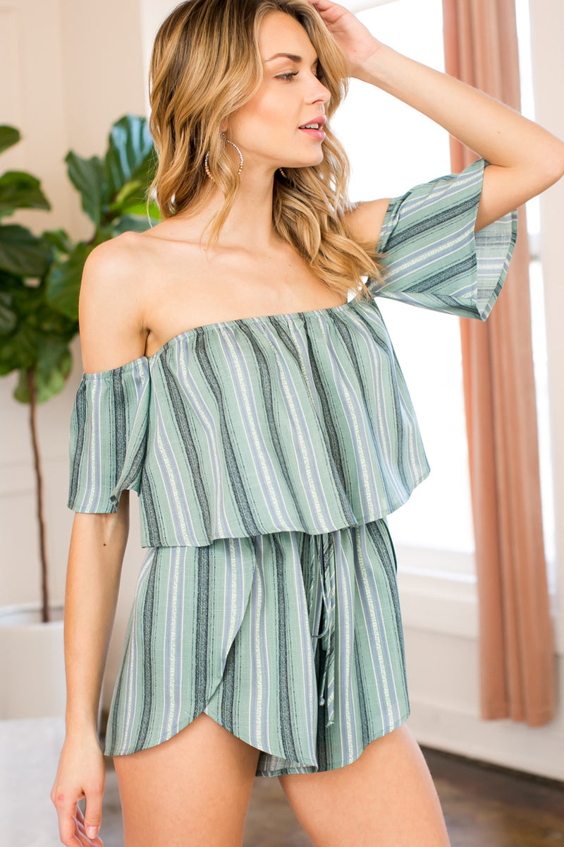 Nicole Striped Romper in Olive - Boho Bum Island Clothing Swimwear Bohemian Boho west palm beach  Miami florida  fall fashion spring fashion online shopping ootd blogger style swim boutique