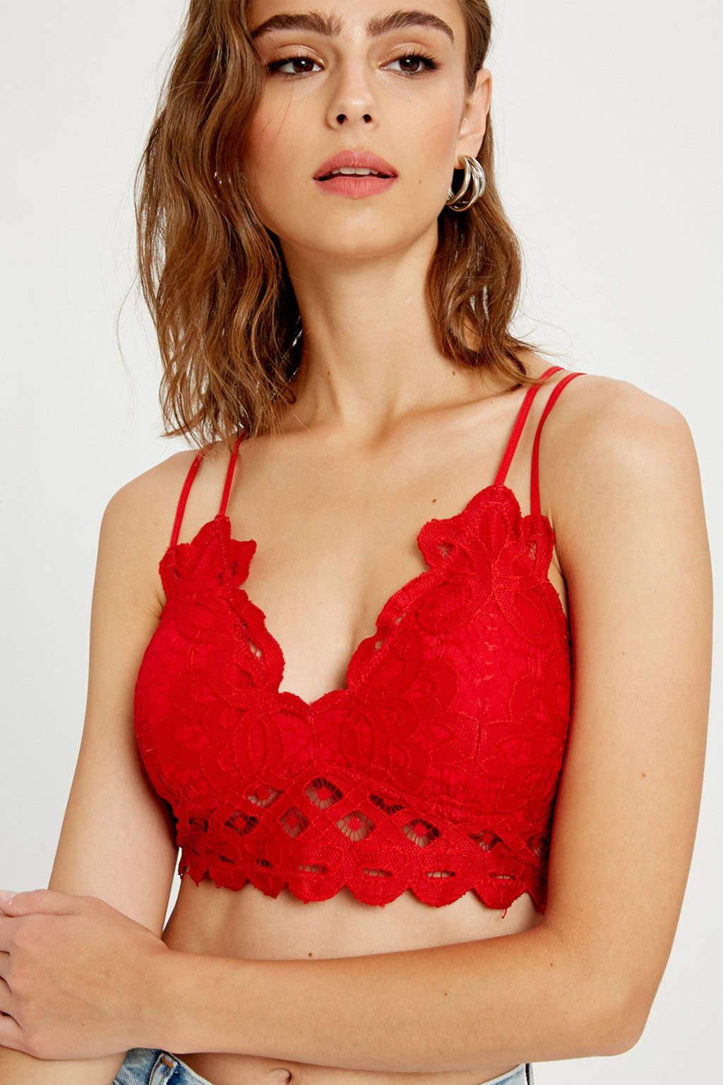 Natasha Lace Bralette in Red