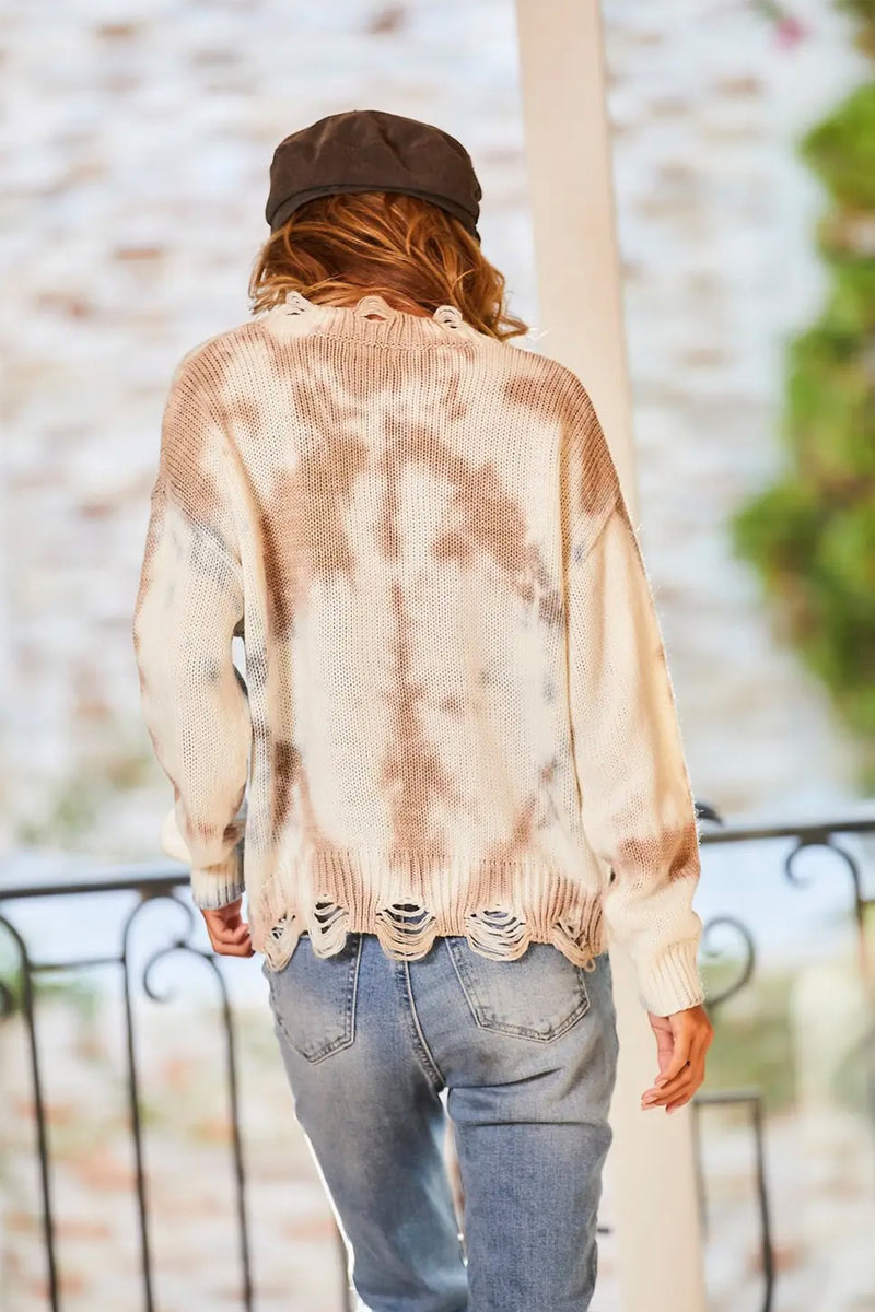 Paige Tie-Dye Distressed Sweater in Taupe/Dusty Blue