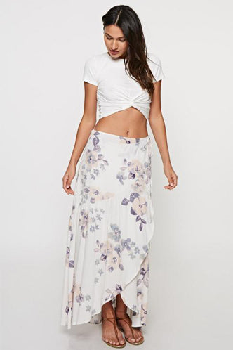Ruffle Maxi Skirt in Blush/Vanilla - Boho Bum Island Clothing Swimwear Bohemian Boho west palm beach  Miami florida  fall fashion spring fashion online shopping ootd blogger style swim boutique