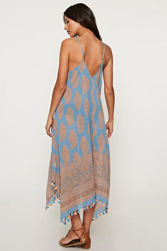 Scarf Print Dress in Blue/Peach - Boho Bum Island Clothing Swimwear Bohemian Boho west palm beach  Miami florida  fall fashion spring fashion online shopping ootd blogger style swim boutique