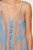 Scarf Print Dress in Blue/Peach